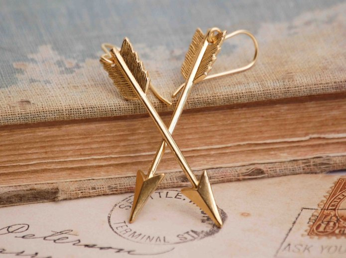 Golden Arrow Earrings by Red Truck Designs