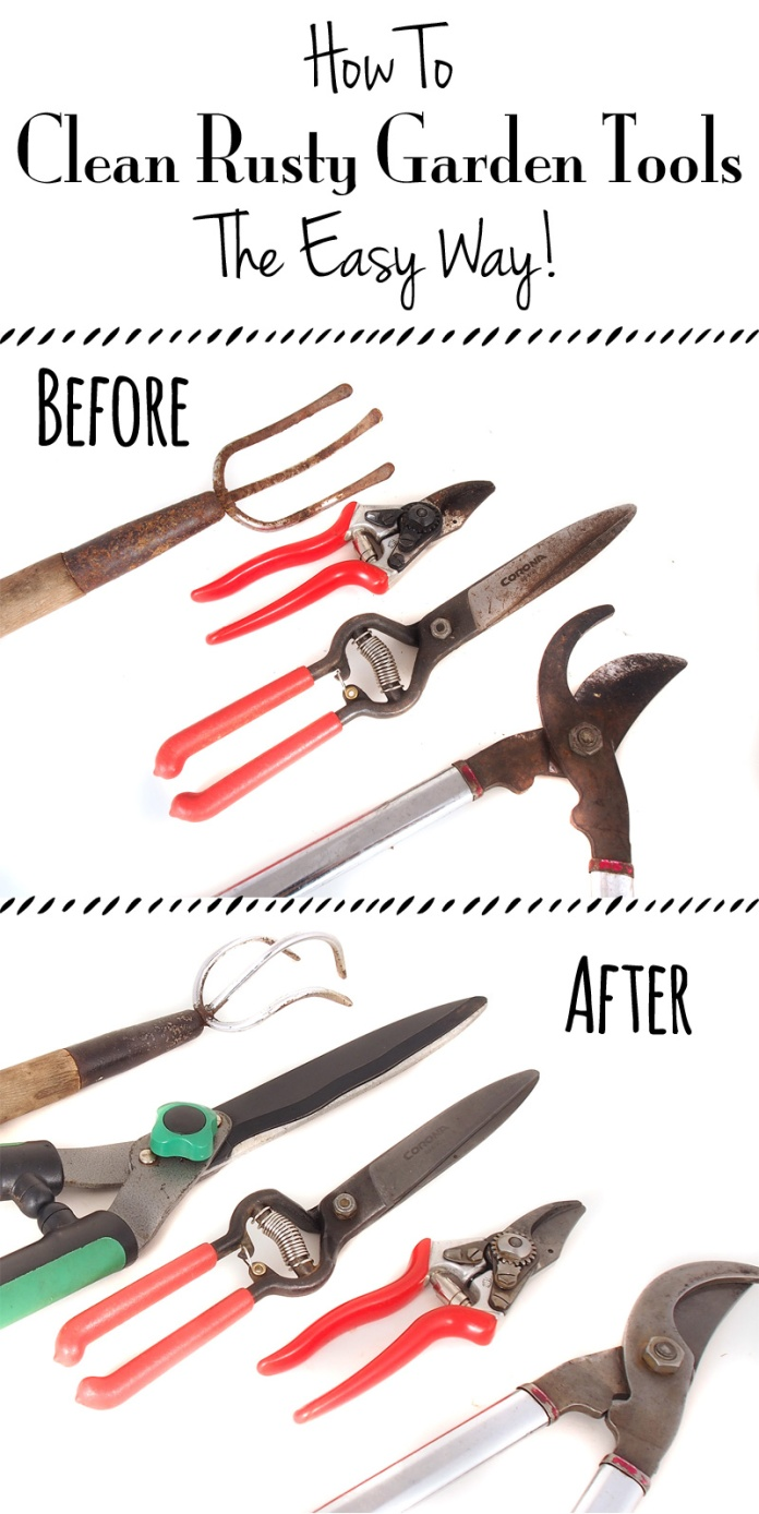 how to clean rusty garden tools the easy way sweet little sparrow. Black Bedroom Furniture Sets. Home Design Ideas