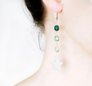 DIY Green Ombre Star Earrings