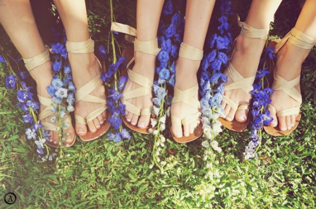 Bridesmaids in Sandals