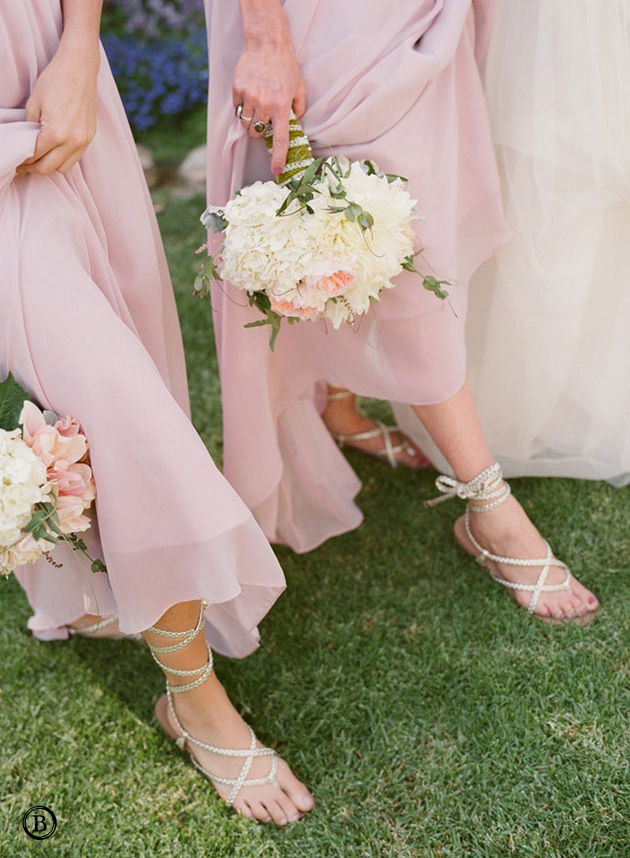 Bridesmaids in Blush Chiffon & Strappy Sandals