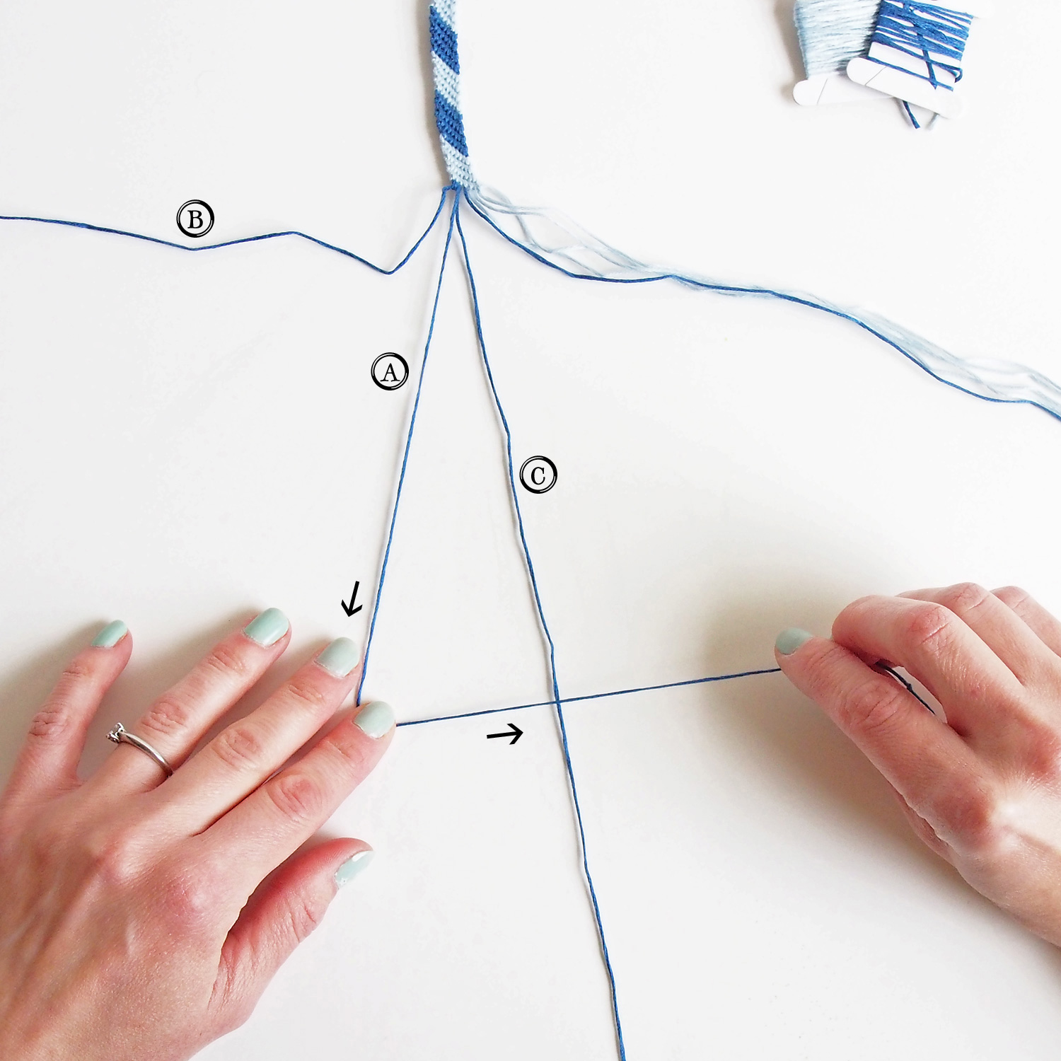 """Repeat The Knotting Process On The Next Thread (c) Cross A Over C To Form  A """"4"""""""