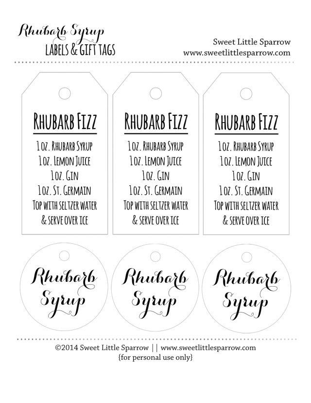 Rhubarb Syrup Labels & Gift Tags