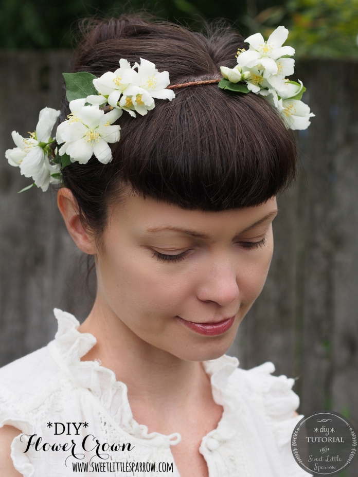 {DIY} Fresh Flower Crown with Mock Orange Blossoms