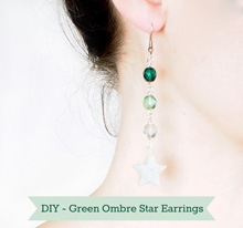 {DIY} Make Your Own Emerald Green Ombre ★Star★ Earrings