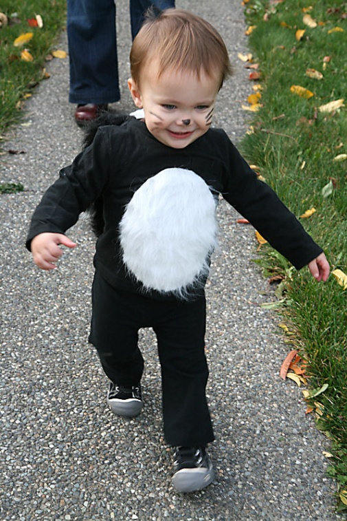 DIY Kids Halloween Costume Idea - Skunk