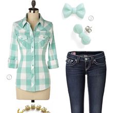 Casual Weekend Outfit – Mint Green Plaid Button-up, Tailored Jeans & Feather Trim Mocs
